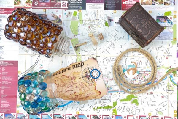Treasure jar with a treasure map in garden