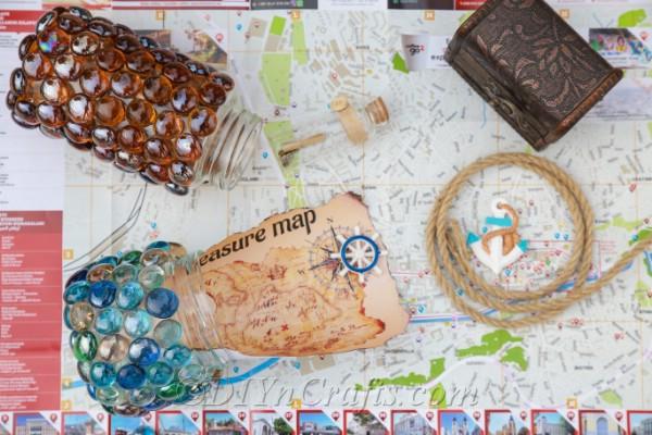 Treasure jars in a garden with a treasure map