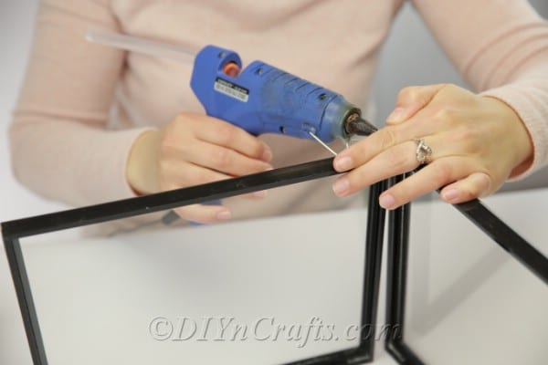 Gluing frames together to create a square base