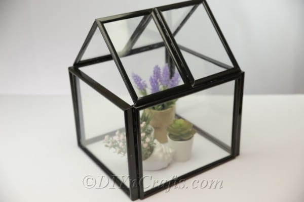 Finished DIY greenhouse from picture frames
