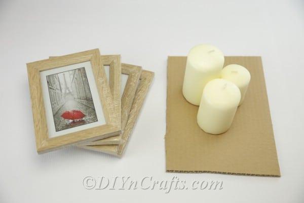 Supplies needed to make farmhouse picture frame lantern