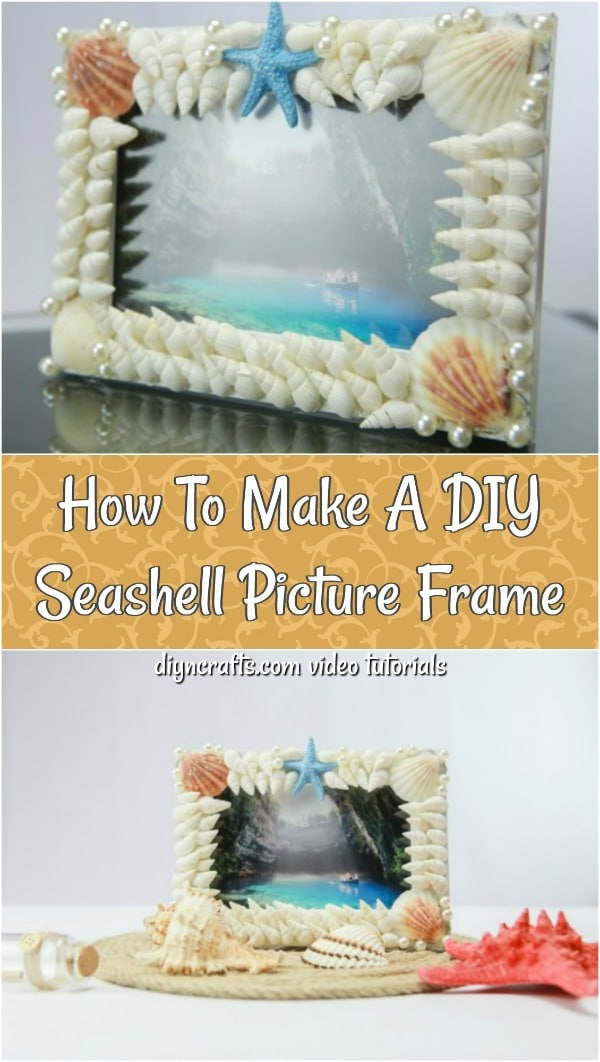 How To Make A DIY Seashell Picture Frame - Create this DIY shell frame for yourself or to give as a gift. The step-by-step video tutorial teaches you how to make his gorgeous seashell covered picture frame.