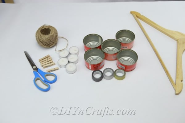 Materials needed to make a DIY tuna can tealight holder
