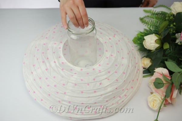 Measuring an empty jar to fit inside a paper lantern