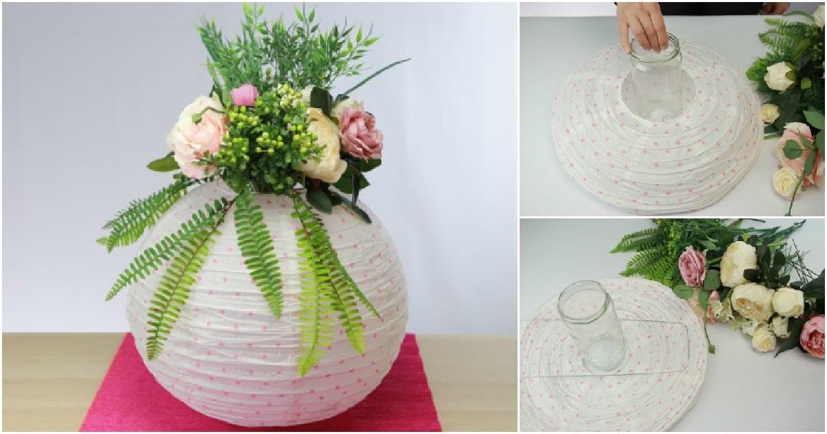 How To Make A Paper Lantern Floral Centerpiece Diy Crafts