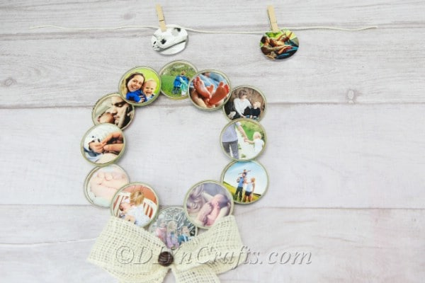 Wreath made of photographs with a large bow