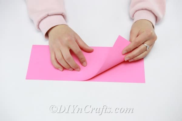 Pink paper used to make a flower ball