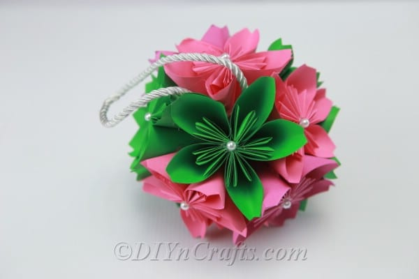 Finished DIY paper flower ball with two paper flower sections