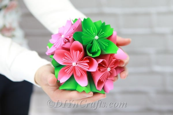 Paper flower ball in pink and green