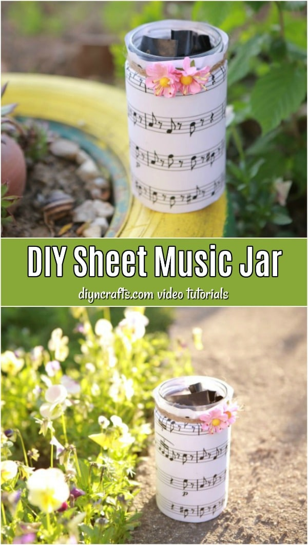 How To Make A Decorative Sheet Music Jar - Learn how to make these sheet music jars with a step-by-step video tutorial. Use these musical jars as candleholders, change jars, or anything you want.