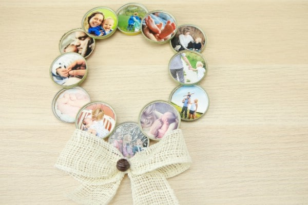 How to Make a Gorgeous Photo Wreath from Lids