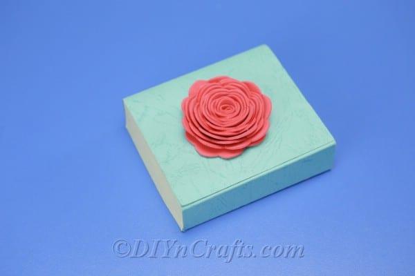 Foam flower gift box decorating.
