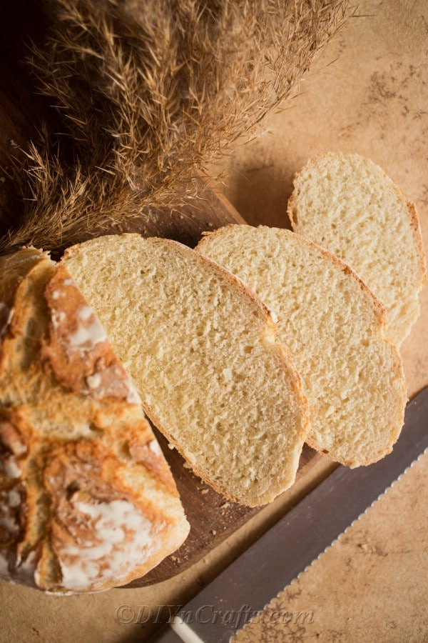 Slices of french bread ready to serve