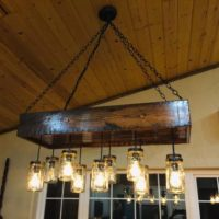 1880's Reclaimed Homestead Wood Chandelier Mason Jar Chandelier