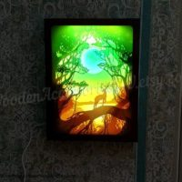 Carwed lightbox Forest Deer Journey Landscape Night Light Lamp