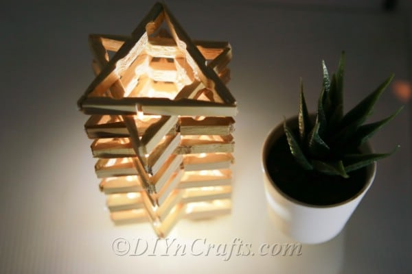 Top view of star shaped clothespin lamp