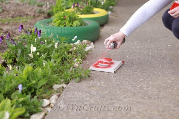 Spray painting rocks with red paint