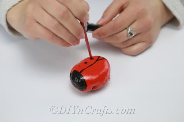Painting a black line down the center of a rock