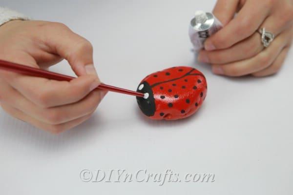 Using white paint to create eyes for ladybug rocks
