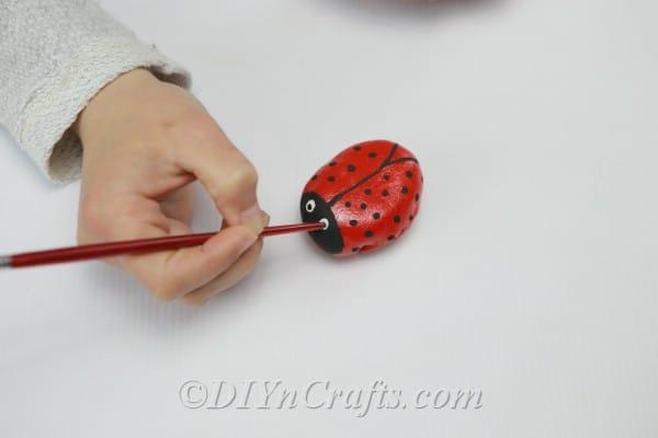 Finished ladybug rock