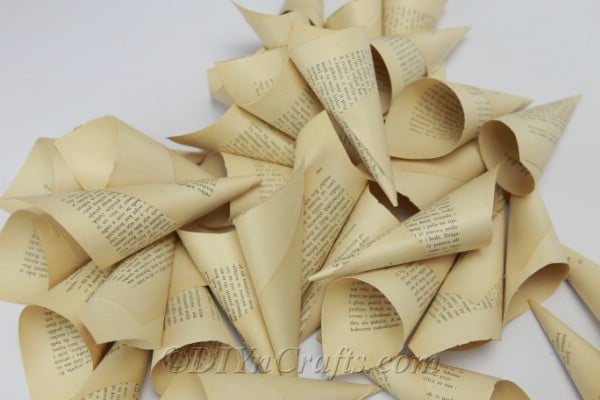 Cones made from book pages