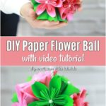 How to Make a Gorgeous DIY Paper Flower Ball - Step-by-step video tutorial shows you how to make this gorgeous DIY paper flower ball. Hang or place in a vase to display or use these as kissing balls for your wedding.