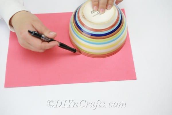 Tracing a bowl shape onto craft foam