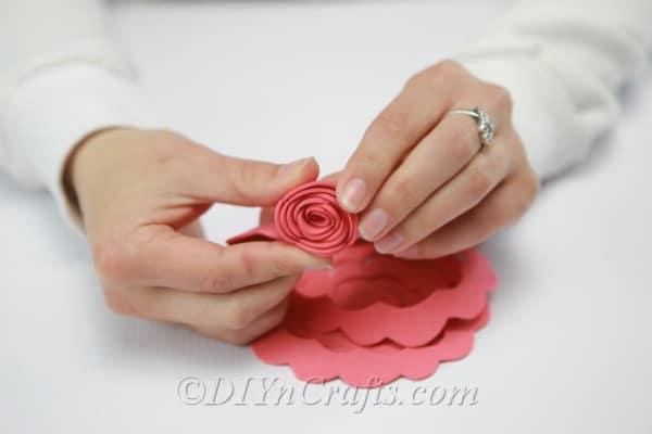 Rolling up foam to create a flower