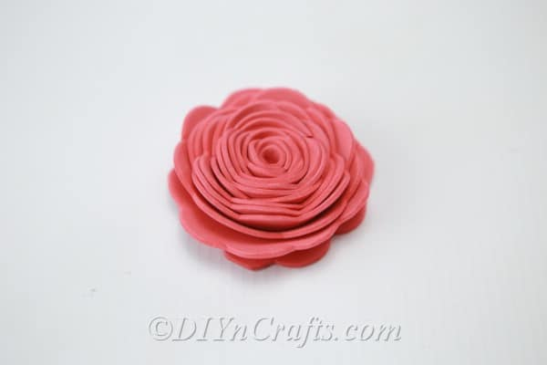 Pink flower made from craft foam