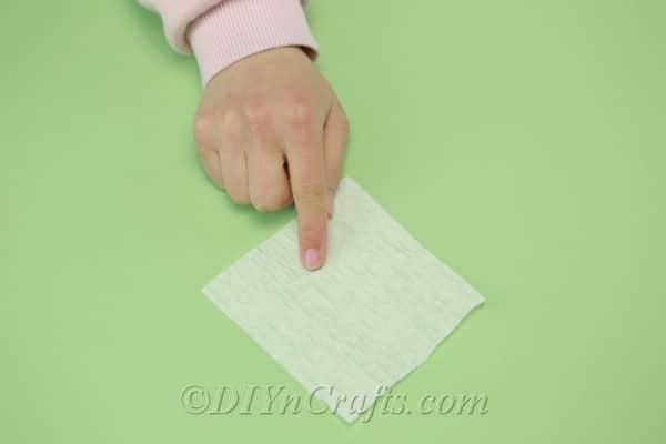 Tissue paper cut into a square