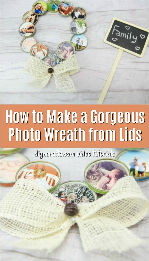 How to Make a Gorgeous Photo Wreath from Lids - Make this gorgeous photo wreath for yourself or as a gift for someone special. The video tutorial shows you how to turn mason jar lids into a DIY photo wreath in just a few steps.