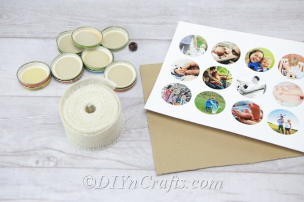 Supplies needed to make a photo wreath from jar lids