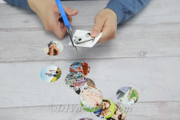 Cutting pictures down to fit inside mason jar lids