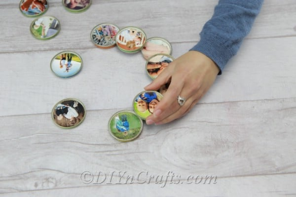 Gluing picture lids onto each other
