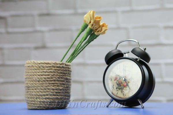 Satin tulips in a rustic vase