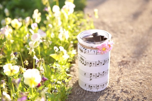 Outdoor photo of the music sheet jar