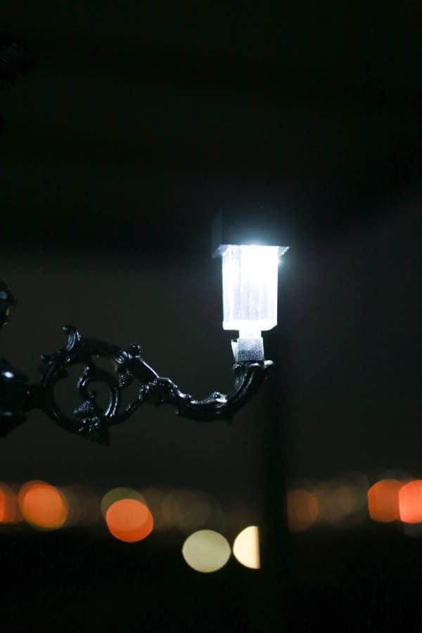 Single solar light lit up at night