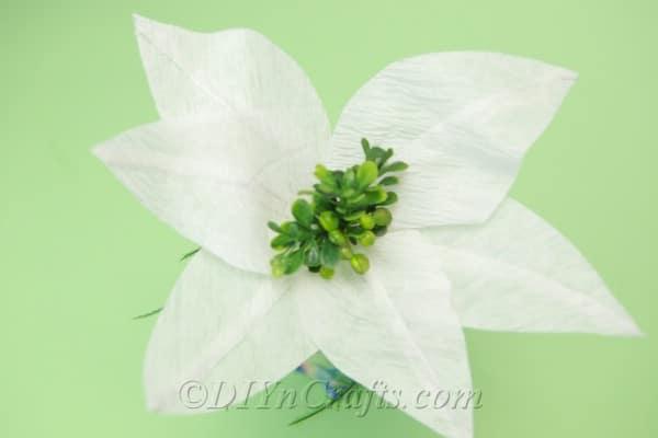 Tissue paper flower in a vase