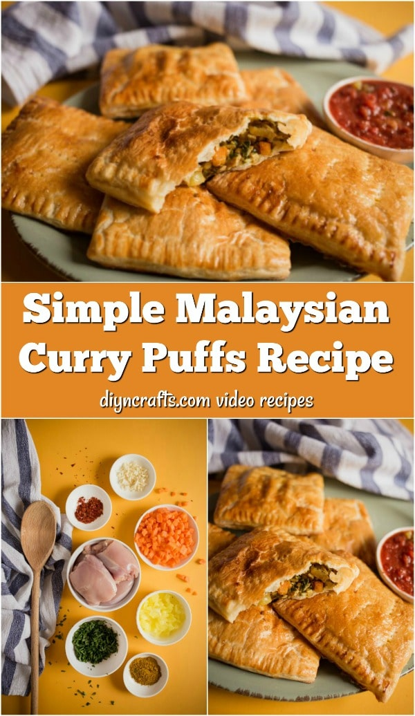Simple Malaysian Curry Puffs Recipe - Filled with chicken, onion and other tasty ingredients, these simple to make curry puffs are a popular Malaysian snack. Learn to make them yourself with this step-by-step video tutorial and recipe.