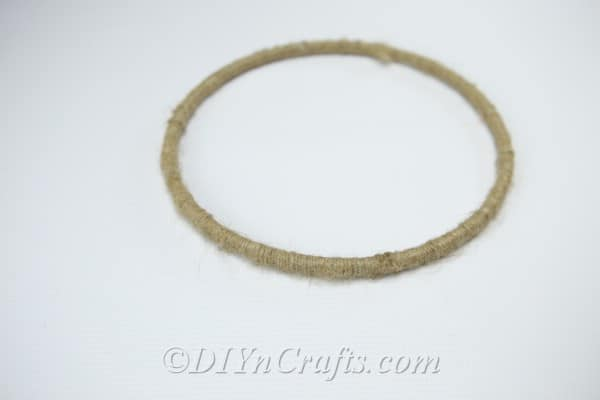 This is what your wooden hoop will look like after it is wrapped in twine.