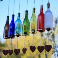 Glass Wine Bottle Wind Chimes