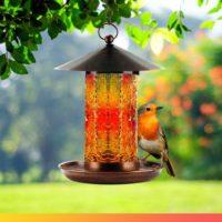 Handmade Solar Powered Hanging Bird Feeder