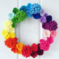 Rainbow wreath, felt flower wreath