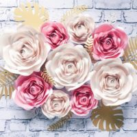 PAPER FLOWERS WALL decor for nursery girl room