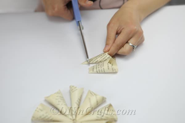 Trim the ends of the cones that you will be attaching next.