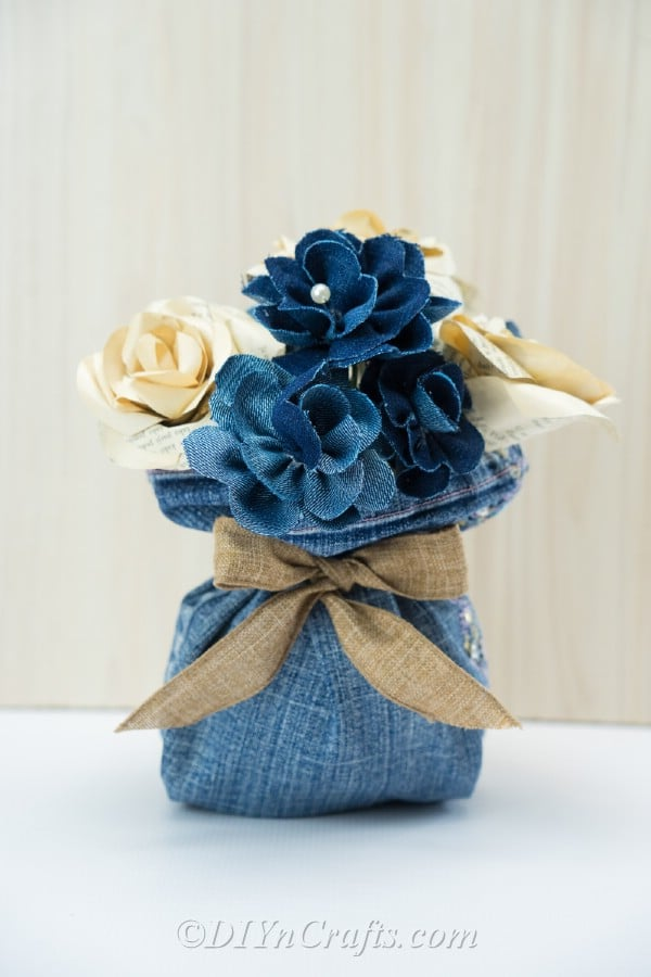 Floral arrangement out of old denims.