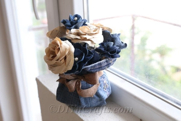 Rustic denim floral decor looks beautiful displayed anywhere.