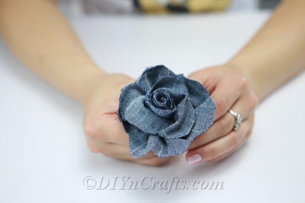 You now have a denim flower.