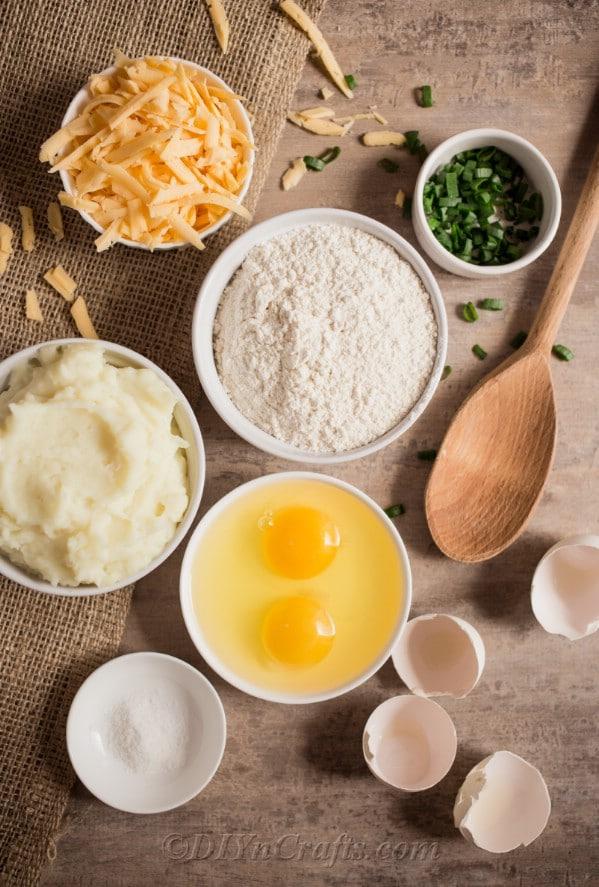 Ingredients needed to make potato pierogies