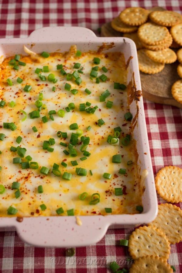 Buffalo Chicken Dip recipe being served butter crakcers